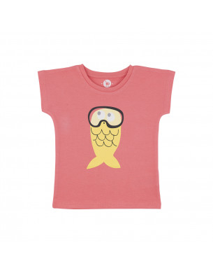 T-shirt fille rose corail