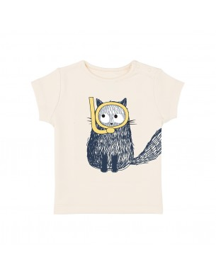 T-shirt blanc chat plongeur La Queue du Chat